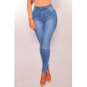 Lovely Casual Skinny Baby Blue Denim Jeans