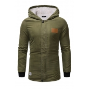 Lovely Euramerican Hooded Collar Army Green Cotton