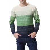 Lovely Casual Color-lump Green Cotton Sweaters