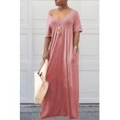 Schöne Lässige Taschen Design Hellrosa Mischung Bodenlangen Kleid
