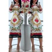 Lovely Casual Printed White Knee Length Dress