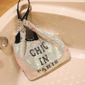 Lovely Casual Letters White Sequined Shoulder Bags