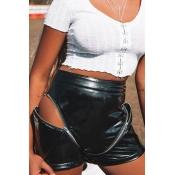 Lovely Casual Zipper Design Skinny Black Shorts