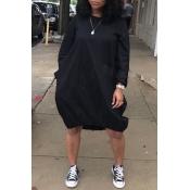 Lovely Euramerican Long Sleeves Loose Black Knee Length Dress