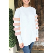Lovely Sweet Long Sleeves Patchwork White Blouses