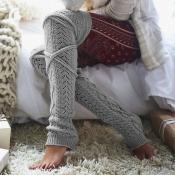 Lovely Sweet Knee-high Light Grey Socks