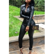 Lovely Casual Buttons Decorative Black PU Two-piece Pants Set