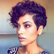 Lovely Trendy Short Curly Black Wigs