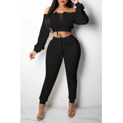 Lovely Euramerican Dew Shoulder Black Twilled Satin Two-piece Pants Set