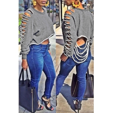 Lovely Casual Long Sleeves Broken Holes Grey Cotton Blouses