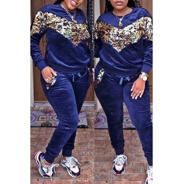 Lovely  Casual Patchwork Sequined Decorative Deep Blue Velvet Two-piece Pants Set