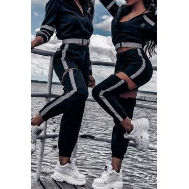 Lovely Trendy  Hasp Design  Loose Black Pants