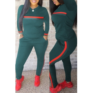 Bel Paio Di Pantaloni A Due Pezzi In Misto Verde A Righe Casual