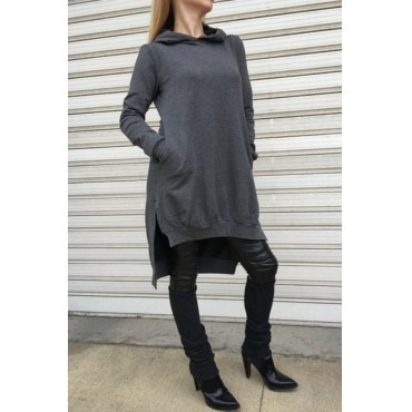 Lovely  Casual Hooded Collar Grey Cotton Hoodies