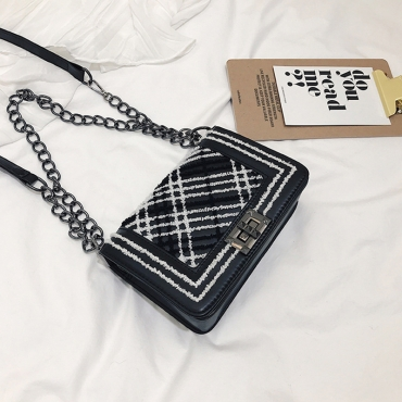 Lovely Chic Printed Black Patent Leather  Messenger