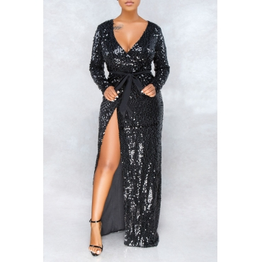 Lovely Sexy Sequined Decorative Black Ankle Length Dress
