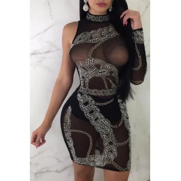Lovely Gauze Sexy Solid Regular sleeve Long Sleeve O Neck Mini Sheath Yes(Elastic) Dresses