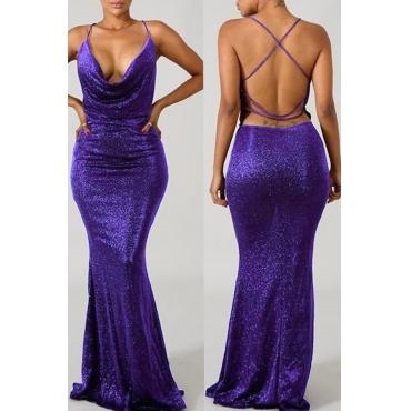 Lovely Sexy Backless Purple Velvet Trailing Dress