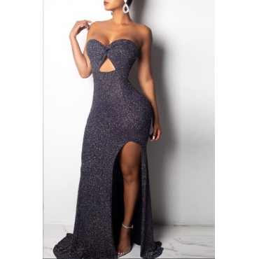 Lovely Euramerican Dew Shoulder Side Slit Grey Blending Floor Length Dress