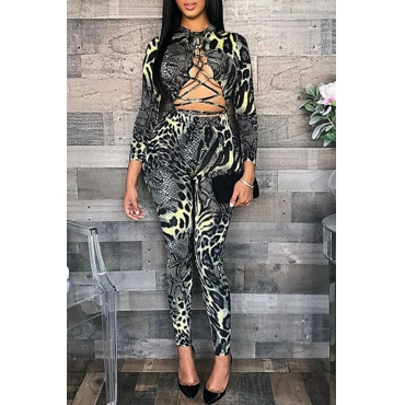 Lovely  Sexy  Hollowed-out Snakeskin Printed One-piece Jumpsuit