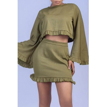 Lovely Sweet Flounce Design Army Green Twilled Satin Two-piece Skirt Set