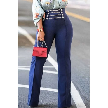 Lovely Euramerican Loose Blue Twilled Satin Pants