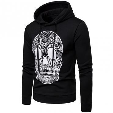 Lovely Euramerican Skull Printed Black Cotton Hoodies