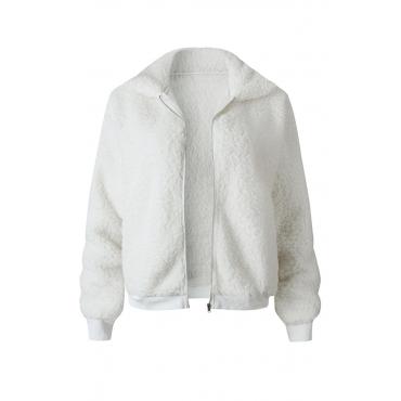 Lovely Euramerican Winter Zipper Design White Jacket