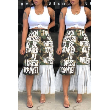 Lovely Street Patchwork Camouflage Printed Ankle Length Skirts