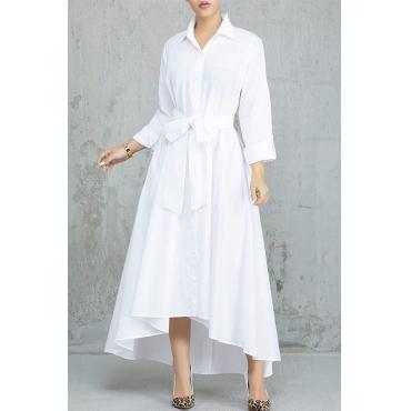 Lovely Elegant Buttons Design White Tatting Ankle Length Dress