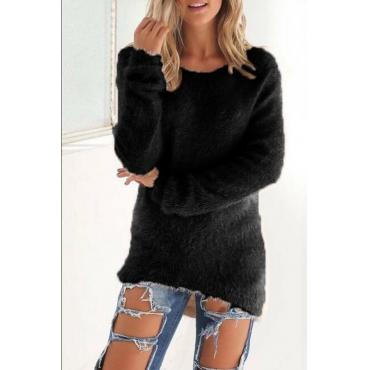 Lovely Euramerican Winter Long Sleeves Black Blending Blouses