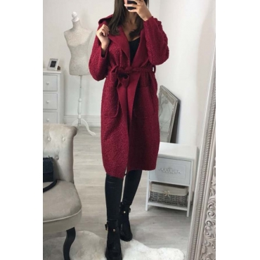 Lovely Trendy Long Sleeves Lace-up Wine Red Trench Coats