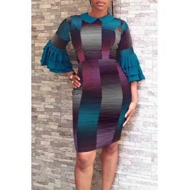 Lovely Trendy Patchwork Light Blue Twilled Satin Knee Length Dress