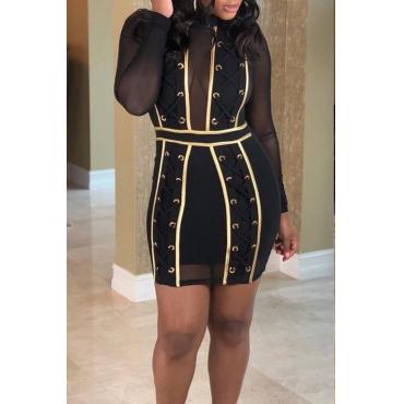 Lovely Chic See-through Patchwork Black Gauze Mini Dress