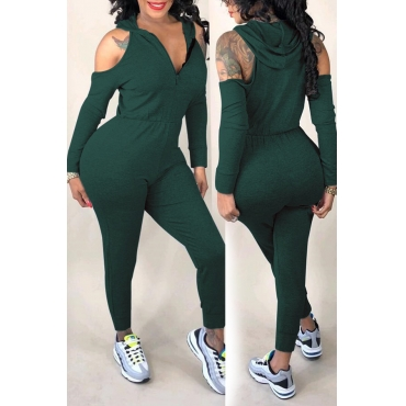 Lovely  Casual Hollowed-out Blackish Green Knitting One-piece Jumpsuit