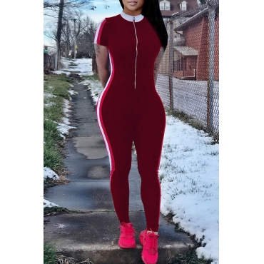 Lovely Casual Striped Skinny Wine Red Blending One-piece Jumpsuit
