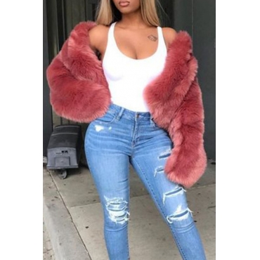 Lovely Casual Winter Long Sleeves Red Faux Fur Coat
