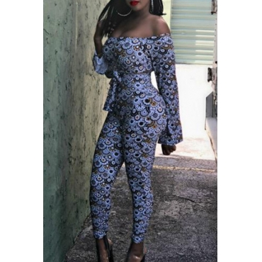 Lovely Casual Dew Shoulder Printed Skinny Multicolor One-piece Jumpsuit