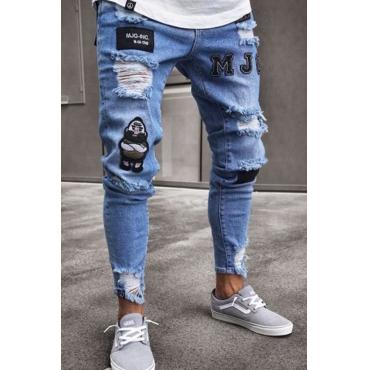 Lovely Euramerican Patchwork Light Blue Cotton Jeans