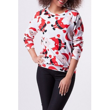 Lovely Polyester Casual Patchwork Long Sleeve O Neck Tshirt
