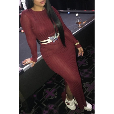 Lovely Casual Long Sleeves Wine Red Knitting Ankle Length Dress(Without Belt)