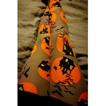 Lovely Euramerican Pumpkin Printed Skinny Yellow Pants