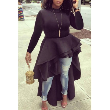 Lovely Euramerican Asymmetrical Black Blouses
