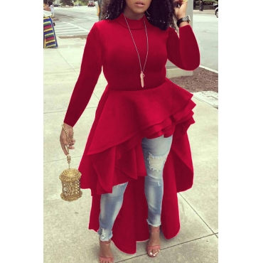 Lovely Euramerican Asymmetrical  Red  Blouses
