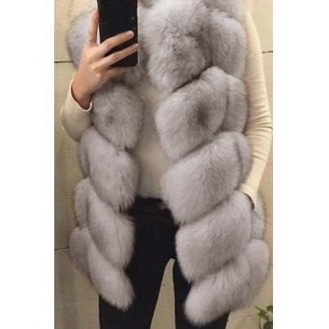 Lovely Trendy Luxury Grey Faux Fur Vests