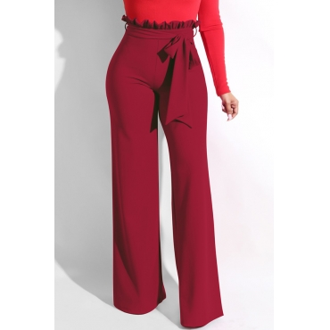 Lovely Trendy Ruffle Design Loose Wine Red Knitting Pants