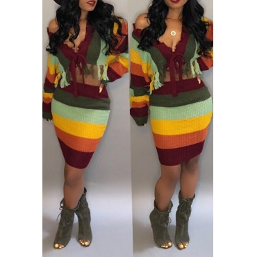 Lovely Casual Striped Multicolor Sweater Two-piece Skirt Set