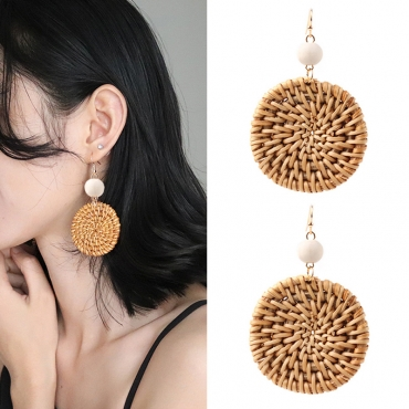 Lovely Fashion Grass Weaved Brown Alloy Earring