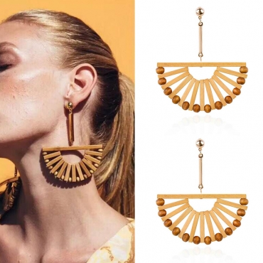 Lovely Fashion Hollowed-out Beige Alloy Earring