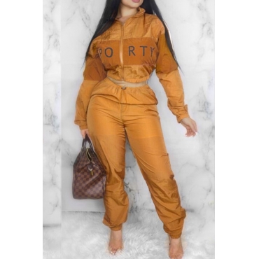 Lovely Trendy Patchwork Orange Two-piece Pants Set